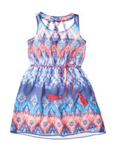Pinky Multicolor Chevron Print Dress - Girls 7-16