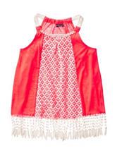 My Michelle Coral Crochet Fringe Swing Top – Girls 7-16