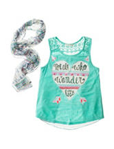 Self Esteem Lace Inset Tribal Print Top - Girls 8-20