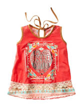 Self Esteem Be Inspired Faux Suede Tribal Print Top – Girls 7-16