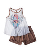 Self Esteem Owl Top & Shorts Set - Girls 7-16