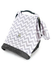 Itzy Ritzy® Cozy Happens™ Infant Car Seat Canopy –Grey Chevron