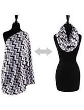 Itzy Ritzy® Nursing Happens™ Infinity Breastfeeding Scarf – Charcoal Haze Chevron