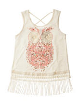 Self Esteem Owl Lace Fringe Top – Girls 7-16