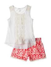 One Step Up Crochet Top & Aztec Print Shorts Set - Girls 7-16