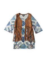 My Michelle Crochet Aztec Print Dress & Faux-Suede Vest - Girls 7-16
