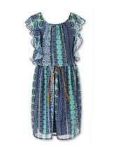 Speechless Aztec Print Chiffon Dress - Girls Plus