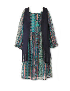 Speechless 2-pc. Faux Suede Fringe Vest & Dress Set – Girls 7-16