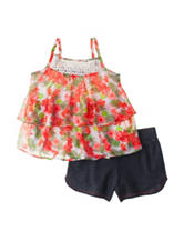 Pogo Club 2-pc. Floral Print Top & Shorts Set - Girls 4-6x