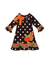 Rare Editions Pumpkin Dot Dress – Girls 2-6x