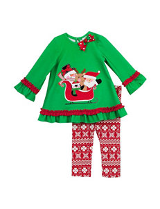 Rare Editions 2-pc. Santa's Sled Top & Fair Isle Leggings Set –Girls 2-6x