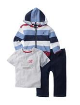 Nautica 3-pc. Stripe Print Fleece Hoodie Set - Baby 12-24 Mos.
