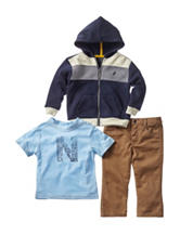 Nautica 3-pc. Color Block Fleece Hoodie & Pants Set – Boys 12-24 Mos.