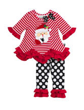 Rare Editions 2-pc. Santa Striped Top & Leggings Set –Girls 2-6x