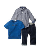 Nautica 3-pc. Checker Print Woven Shirt & Jeans Set - Baby 12-24 Mos.