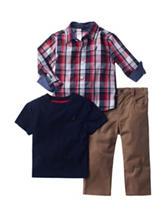 Nautica 3-pc. Plaid Woven Top & Pants Set - Baby 12-24 Mos.