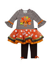 Rare Editions 2-pc. Turkey Striped Top & Leggings Set – Girls 2-6x