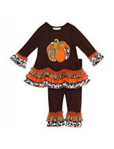 Rare Editions 2-pc. Pumpkin Ruffle Top & Leggings Set – Girls 2-6x