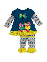 Rare Editions 2-pc. Owl Ruffle Top & Leggings Set – Girls 2-6x