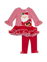 Rare Editions Santa Tutu Top & Leggings Set – Girls 2-6x