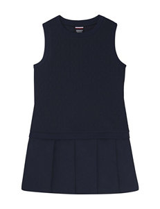 French Toast Knit-to-Woven Pleated Dress – Girls 4-6x