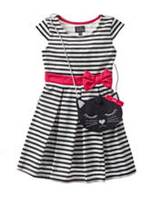 Lilt Striped Dress with Kitty Purse - Toddler & Girls 4-6x