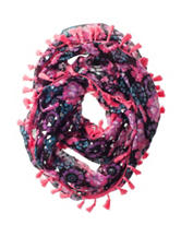 Capelli Floral & Foil Heart Print Loop Scarf