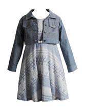 Youngland Crochet Dress with Denim Jacket - Girls 4-6x