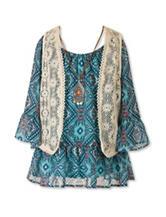 Speechless Geo Print Vest Top with Necklace - Girls 7-16