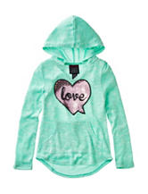 Miss Chievous Sequin Love Top with Hood - Girls 7-16