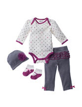Baby Gear 4-pc. Heart Print Bodysuit & Leggings Set - Baby 0-12 Mos.