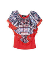 A. Byer Aztec Print Popover Top –Girls 7-16
