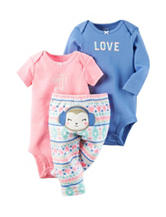 Carters® 3-pc. Love Bodysuit & Pants Set – Baby 0-12 Mos.