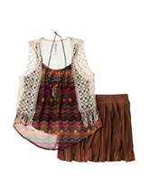 Beautees Crochet Vest & Faux-Suede Skirt Set - Girls 7-16