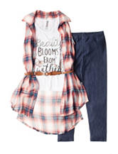 Beautees 2-pc. Plaid Print Top & Leggings Set – Girls 7-16