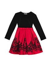 Rare Editions Velvet Flock Skirt Dress - Toddlers & Girls 4-6x