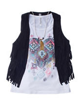 Beautees Fringe Vest & Heart Top with Necklace - Girls 7-16