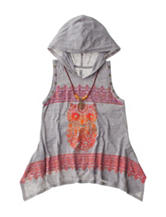 Beautees Owl Print Hood Top with Necklace - Girls 7-16