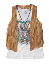 Beautees Owl Print Top with Fringe Vest - Girls 7-16
