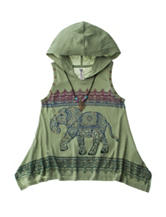 Beautees Elephant Print Hood Top with Necklace - Girls 7-16