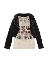 Beautees 2-pc. Dream Top & Faux-Suede Jacket - Girls 7-16