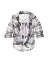 Beautees Plaid Print Top with Necklace- Girls 7-16