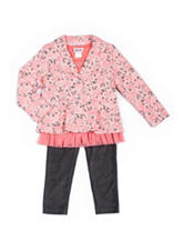 Little Lass 3-pc. Floral Print Jacket & Legging Set - Baby 12-24 Mos.
