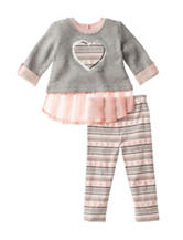 Little Lass 2-pc. Heart Top & Leggings Set - Baby 12-24 Mos.