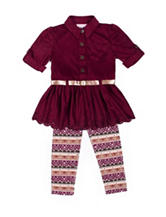 Little Lass 2-pc. Faux-Suede Top & Leggings Set - Baby 12-24 Mos.
