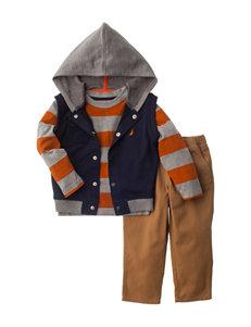 Nautica 3-pc. Stripe Print Shirt Vest Set – Toddler Boys