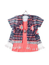 Self Esteem 2-pc. Fringe Cozy Top with Necklace - Girls 7-16
