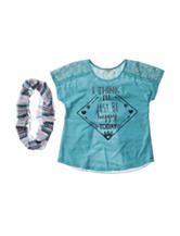 Self Esteem Happy Top with Scarf - Girls 7-16