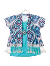 Self Esteem Fringe Cozy 2-pc. Top with Necklace - Girls 7-16
