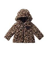 Pistachio Cheetah Print Faux-fur Coat - Baby 12-24 Mos.